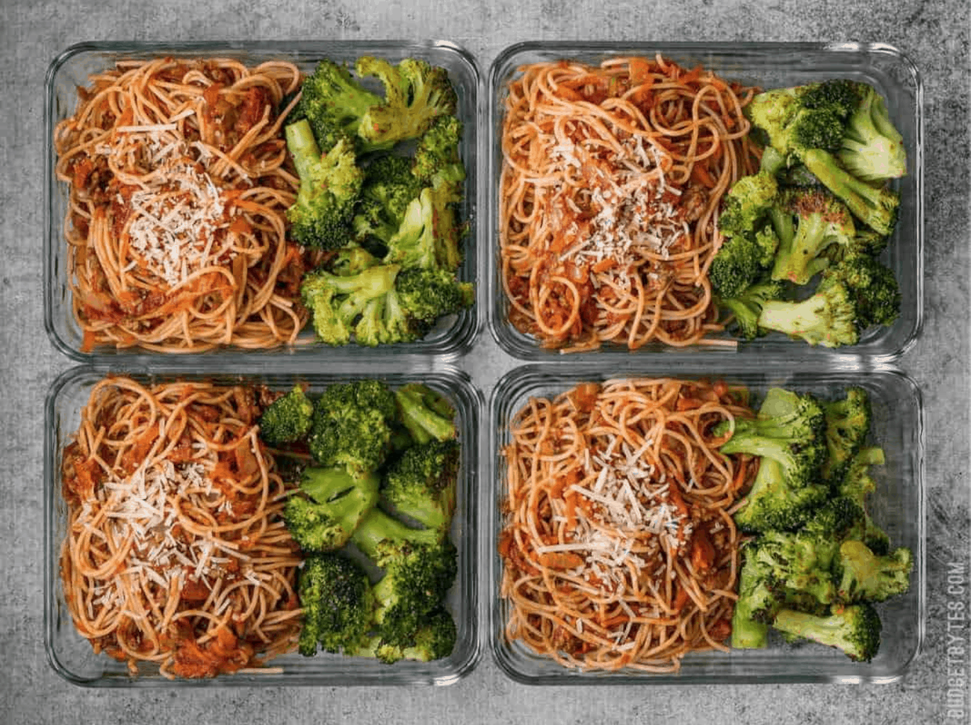 Spaghetti Meal Prep with Oven Roasted Broccoli